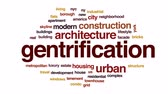 habitação : Gentrification animated word cloud, text design animation.