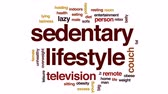 obezita : Sedentary lifestyle animated word cloud, text design animation.
