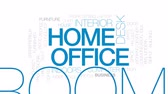 furnished : Home office animated word cloud, text design animation. Kinetic typography.