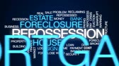 mortgage crisis : Repossession animated word cloud, text design animation.