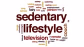 excesso : Sedentary lifestyle animated word cloud, text design animation.