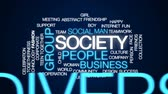 Society animated word cloud, text design animation.