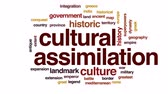 expansão : Cultural assimilation animated word cloud, text design animation.