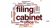 Filing cabinet animated word cloud, text design animation. Wideo