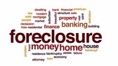 banking house : Foreclosure animated word cloud, text design animation.