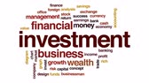 fon : Investment animated word cloud, text design animation. Stok Video