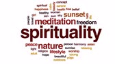 Spirituality animated word cloud, text design animation. Wideo