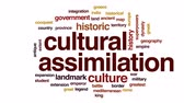 mýtus : Cultural assimilation animated word cloud, text design animation.