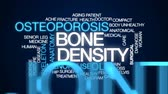 menopauza : Bone density animated word cloud, text design animation.