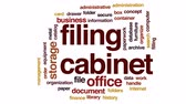 organize : Filing cabinet animated word cloud, text design animation. Stock Footage