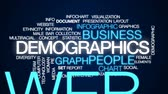 infográfico : Demographics animated word cloud, text design animation. Stock Footage