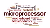 mikroişlemci : Microprocessor animated word cloud, text design animation. Stok Video