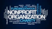 фонд : Nonprofit organization animated word cloud, text design animation.