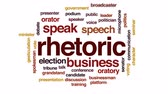 apresentador : Rhetoric animated word cloud, text design animation.