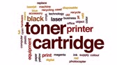 přídatný : Toner cartridge animated word cloud, text design animation.