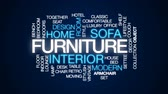 office furniture : Furniture animated word cloud, text design animation. Stock Footage