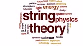 plasma sphere : String theory animated word cloud, text design animation.