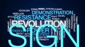 aufstand : Revolution animierte Wortwolke, Textdesignanimation. Stock Footage