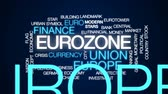 european currency : Eurozone animated word cloud, text design animation.