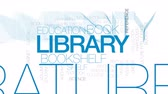 учебник : Library animated word cloud, text design animation. Kinetic typography.