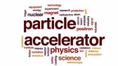 radioisotope : Particle accelerator animated word cloud, text design animation.