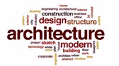 Architecture animated word cloud, text design animation.