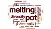 çeşitlilik : Melting pot animated word cloud, text design animation. Stok Video