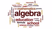 минус : Algebra animated word cloud, text design animation.