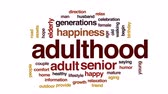зрелом возрасте : Adulthood animated word cloud, text design animation.