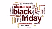 promotional : Black Friday animated word cloud, text design animation.