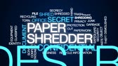 измельченный : Paper shredder animated word cloud, text design animation.