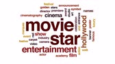 кино : Movie star animated word cloud, text design animation.