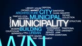 urban waste : Municipality animated word cloud, text design animation. Stock Footage