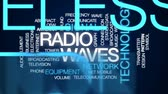 передатчик : Radio waves animated word cloud, text design animation.