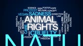 bem estar : Animal rights animated word cloud, text design animation.