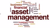 estatístico : Asset management animated word cloud, text design animation.
