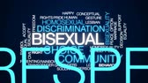 symbol of respect : Bisexual animated word cloud, text design animation. Stock Footage