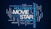 hollywood studios : Movie star animated word cloud, text design animation.