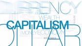 капитализм : Capitalism animated word cloud, text design animation. Kinetic typography.