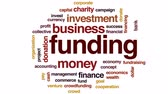 economics : Funding organization animated word cloud, text design animation.
