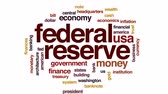 federal : Federal reserve animated word cloud, text design animation. Stock Footage