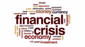 european currency : Financial crisis animated word cloud, text design animation.