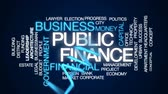 government district : Public finance animated word cloud, text design animation.