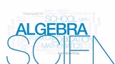 минус : Algebra animated word cloud, text design animation. Kinetic typography.