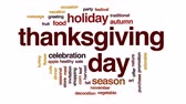 ocasião : Thanksgiving day animated word cloud, text design animation. Stock Footage
