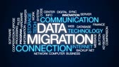srovnávat : Data migration animated word cloud, text design animation.