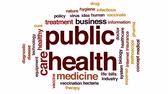 politika : Public health animated word cloud, text design animation.