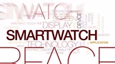 synchronization : Smartwatch animated word cloud, text design animation. Kinetic typography.