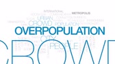 workforce : Overpopulation animated word cloud, text design animation.Kinetic typography.