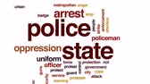vynucení : Police state animated word cloud, text design animation.